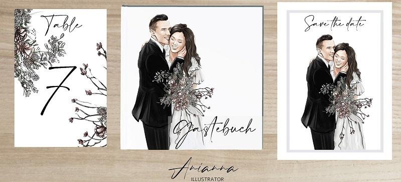 Individuelle Einladungskarten für eine Hochzeit
