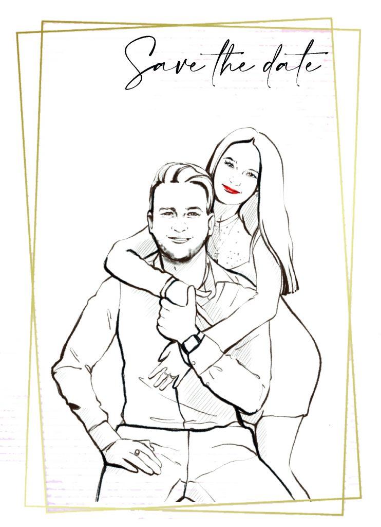 Einladungskarte für eine russische Hochzeit mit einem Tamada