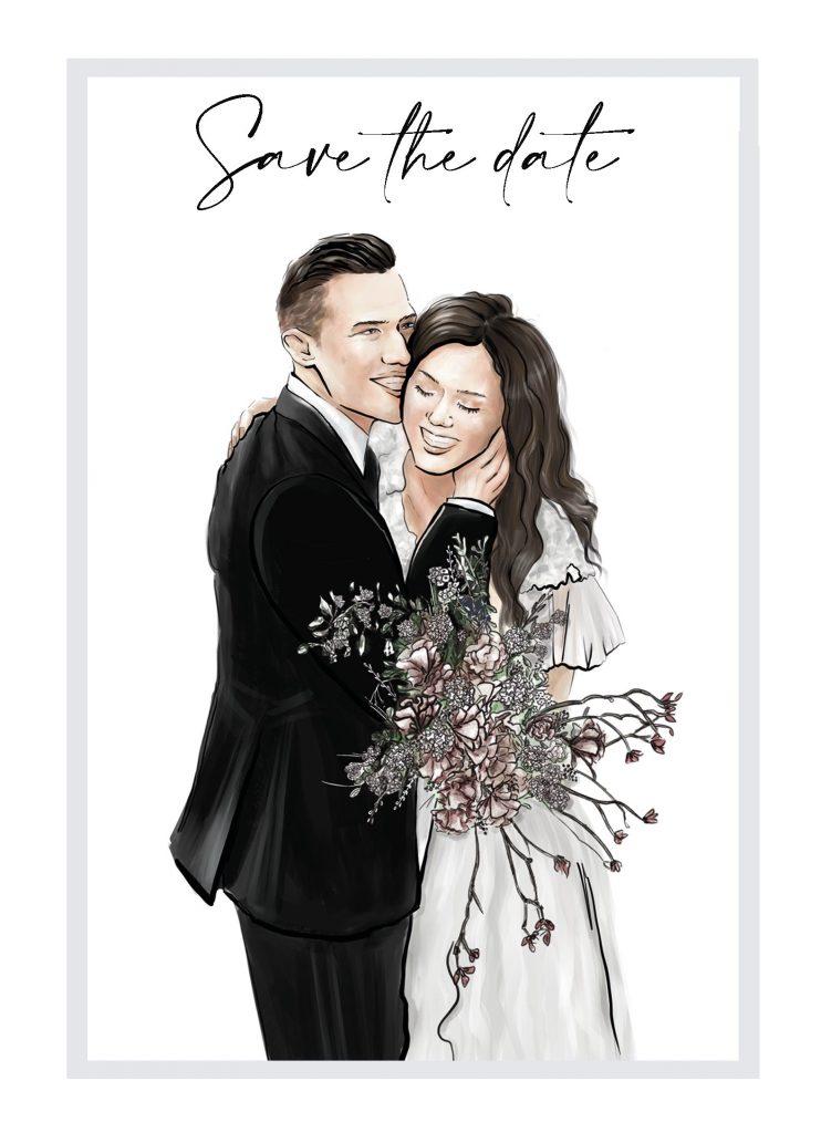 Russische Einladungskarte für eine Hochzeit