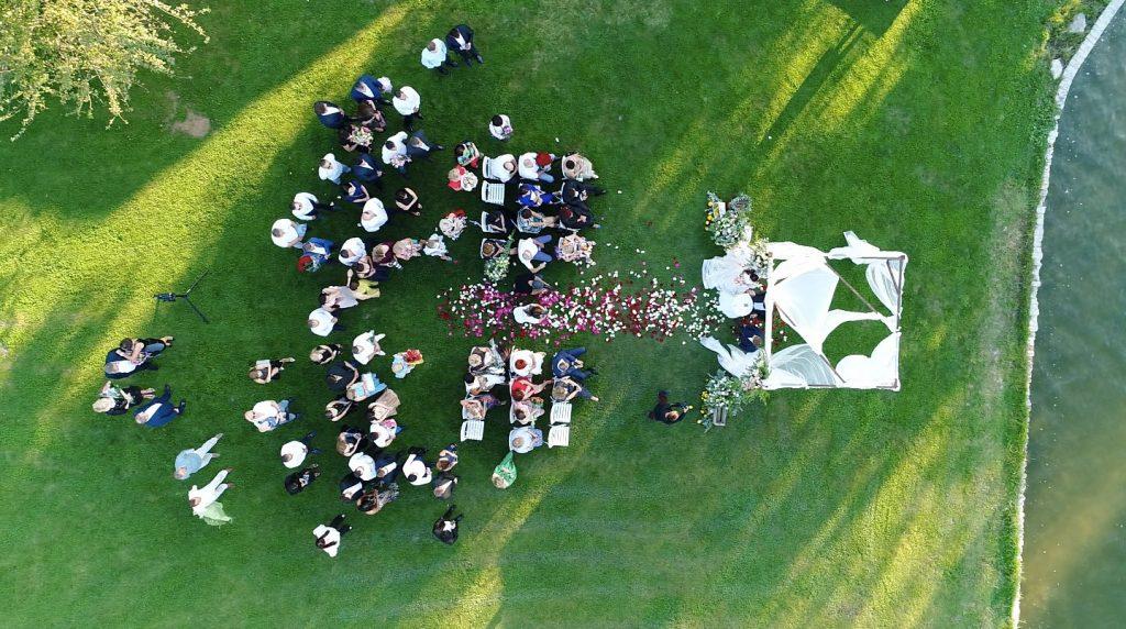 Drohnenaufnahme für eine Hochzeit buchen